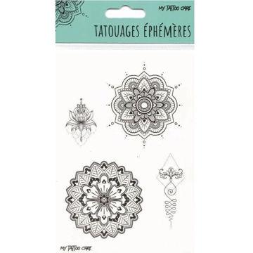 tatouage éphémère mandala et lotus