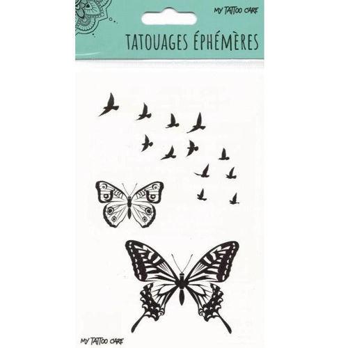 tatouage éphémère papillon et oiseau