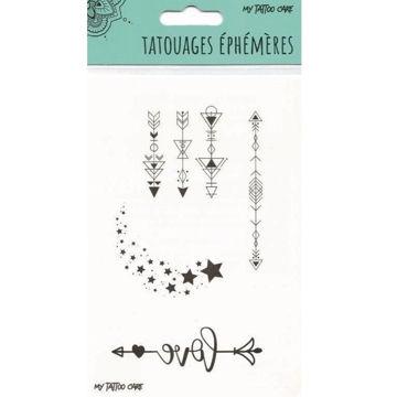 tatouage éphémère fleches love etoiles