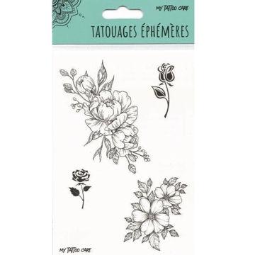 tatouage éphémère rose et fleurs